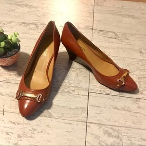 Nine West Chestnut Brown Leather Wedge Shoes Sz 7M